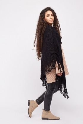 Fringed Toggle Front Poncho