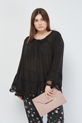 Lace Hem Sheer Smock Blouse