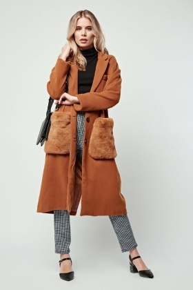 Oversized Fur Pockets Duster Coat