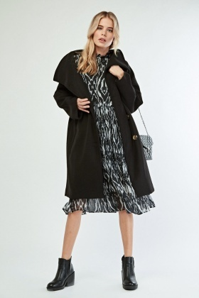 Oversized Lapel Front Pea Coat