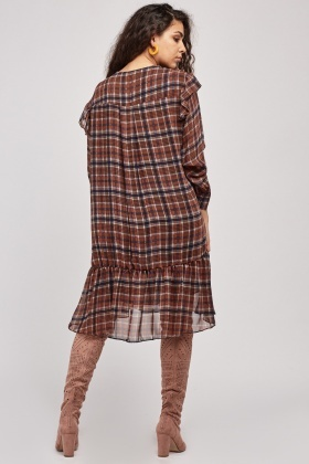 Plaid Sheer Sleeve Tunic Dress