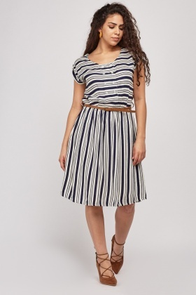 Pleated Striped Dress