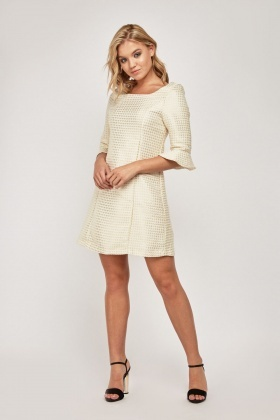 Bell Sleeve Mini Jacquard Dress