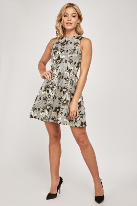 d46b4e5024 Metallic Floral Print Skater Dress