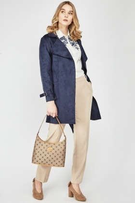 Navy Suedette Belted Trench Coat