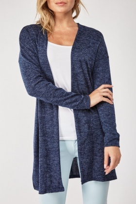 Open Front Navy Speckled Cardigan