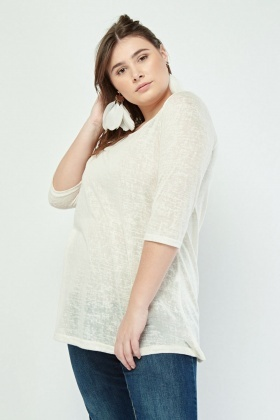 Sheer Round Neck Speckled Top