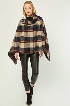 Checkered Toggle Front Poncho