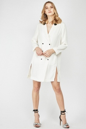Faux Leather Collar Trim Duster Coat
