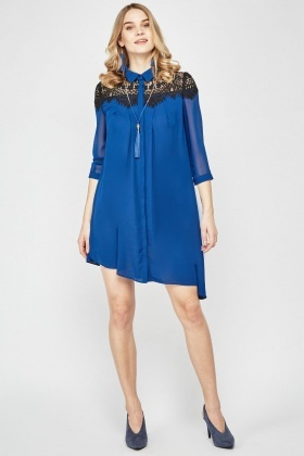 Lace Insert Sheer Shirt Dress