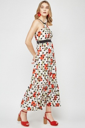 Poppy Flower Print Maxi Dress