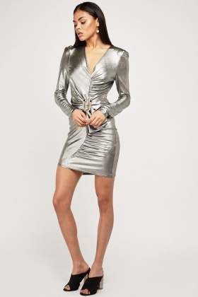 Ruched Encrusted Buckled Bodycon Dress