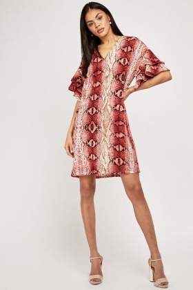 Ruffle Snake Print Shift Dress