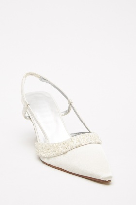 Beaded Slingback Sateen Heels