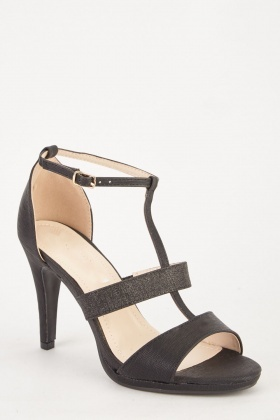 Black Metallic Contrasted T-Strap Heels