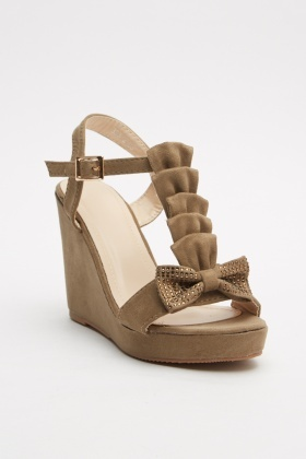 Bow Front Detail Suedette Sandals