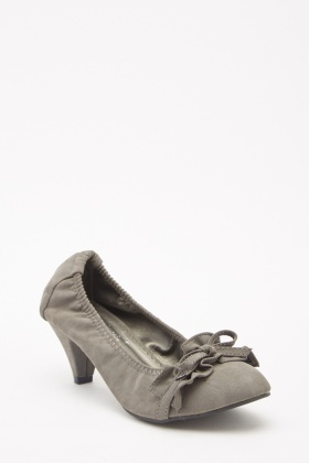 Cone Heel Ruched Pumps