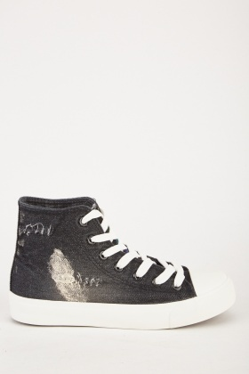 Distressed Denim High Top Trainers