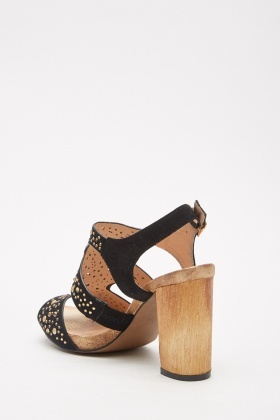 Encrusted Block Heel Sandals