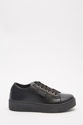 Faux Leather Platform Trainers
