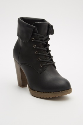 Lace Up Heeled Ankle Boots
