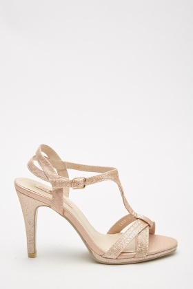 Lurex T-Strap Heeled Sandals