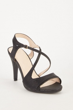 Textured Cross Strap Heel Sandals
