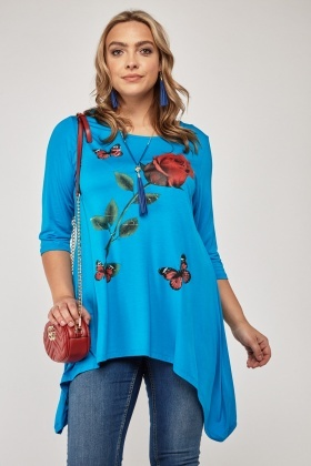 Butterfly Rose Printed Long Top