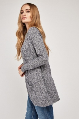 Casual Open Front Speckled Cardigan