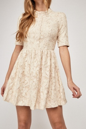 Floral Pattern Frilly Swing Dress