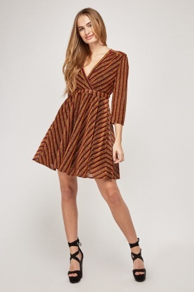 Lurex Striped Skater Wrap Dress