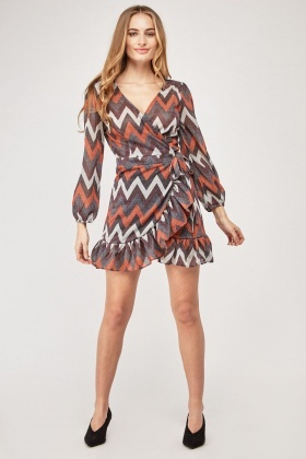 Lurex Zig-Zag Print Wrap Dress