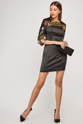 Multi Tonal Sequin Embellished Mini Dress