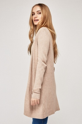 Plain Textured Open Front Cardigan
