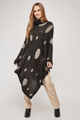 Roll Neck Polka Dot Poncho
