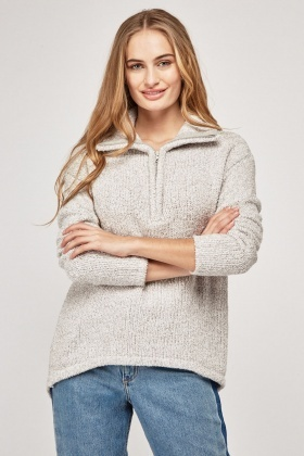 Textured Light Grey Borg Jumper