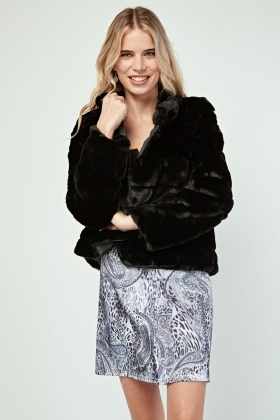 Black Textured Faux Fur Jacket