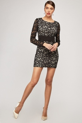 8e0721c7d0 Crochet Lace Overlay Bodycon Dress