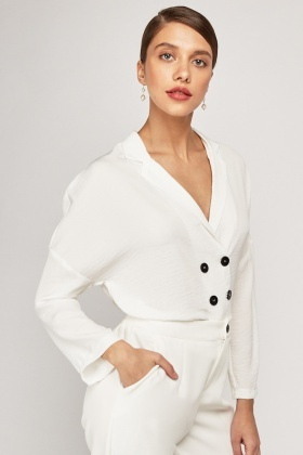 Double Breasted Collar Button Up Blouse