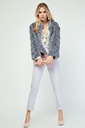 Grey Textured Faux Fur Jacket