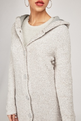 Hooded Borg Knit Cardigan