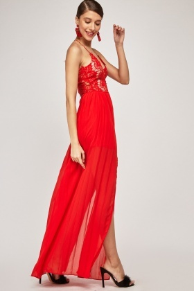 Lace Bodice Pleated Maxi Dress