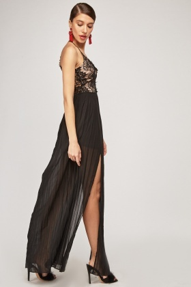 Lace Overlay Pleated Maxi Dress