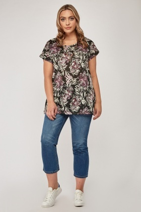 Lilac Flower Print Top