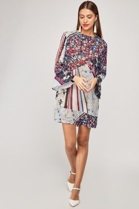 743b853bb02a8 Mixed Printed Bell Sleeve Tunic Dress - Just £5