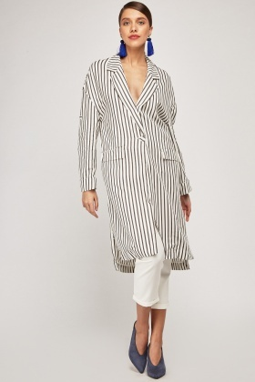 Pin Striped Midi Duster Coat