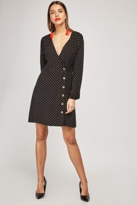 Polka Dot Printed Mini Dress