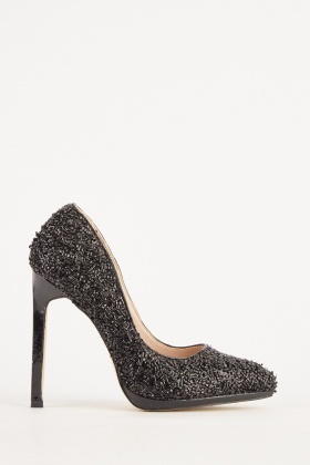 Beaded Metallic High Heels