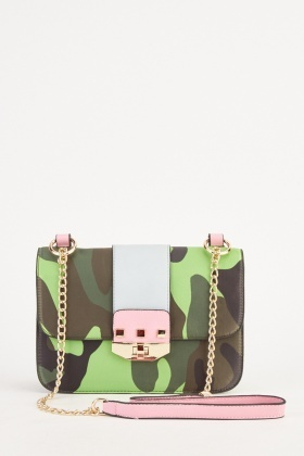 Contrasted Camouflage Cross Body Bag