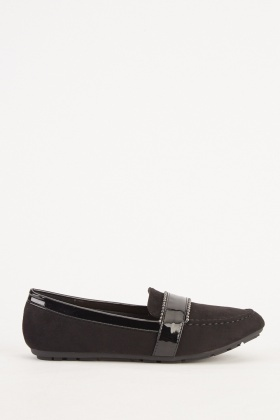 Contrasted Suedette Loafers